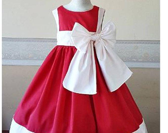 1560c45e208 Robe cérémonie fille rouge et blanc - robe petite fille d honneur coton