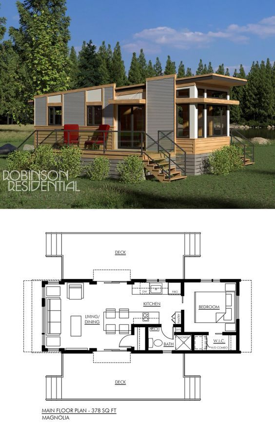 Contemporary Magnolia 378 Robinson Plans Modern House Plans Small House 1 Bedroom House
