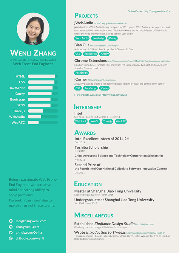 resume of a web front