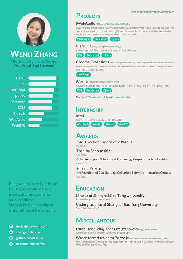 resume of a web front end engineer on behance cvs pinterest