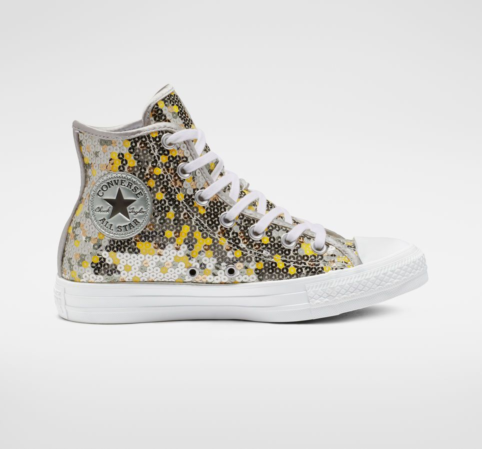 Chuck Taylor All Star Holiday Scene Sequin High Top Pure