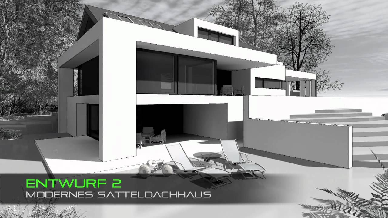 Haus mit satteldach moderne architektur youtube ideas for Haus bauen moderne architektur