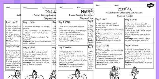 Matilda Guided Reading Sheets For Pupils Roald Dahl Read