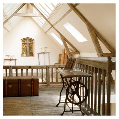 Attic Room With Sewing Machine Table And Vintage Trunk With Images Attic Rooms Sewing Machine Tables Living Spaces