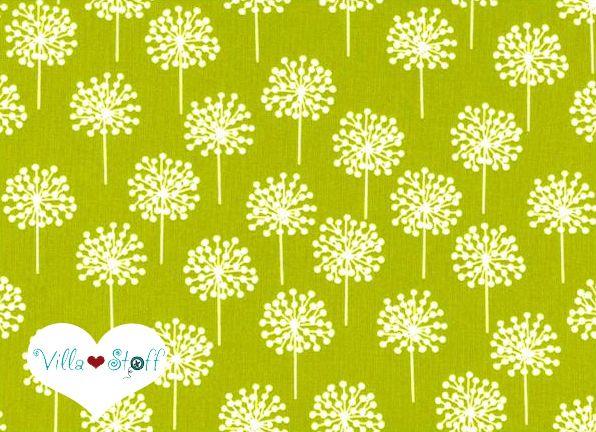 Schlichter, schöner Designerstoff aus Skandinavien.    Der weiche Stoff aus 100% mit wunderschöner Pusteblume in leuchtendem apfelgrün ❉ weiß.     ...