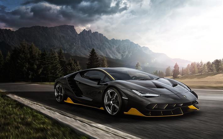 Lamborghini Centenario  Black Super Sport Print Poster or Canvas