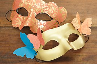 Using masks to create simple costumes.  The story is actually on Masquerade Party Ideas