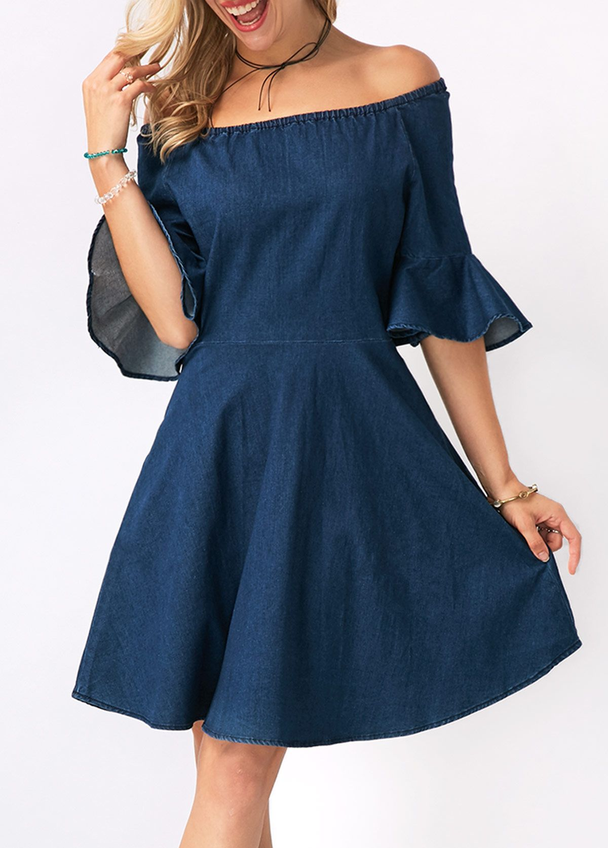 Flare Cuff Off the Shoulder Denim Blue Dress