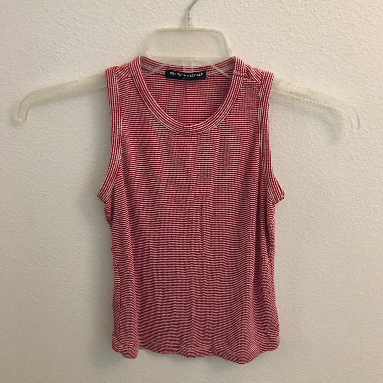cd716c23231  10 Cutest Brandy Melville crop top! Red with dainty white stripes