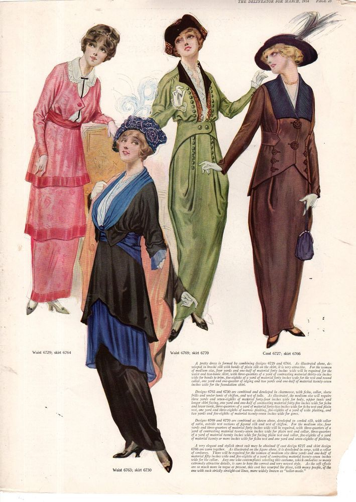 1914 Delineator Print - Spring Dresses and Yokes