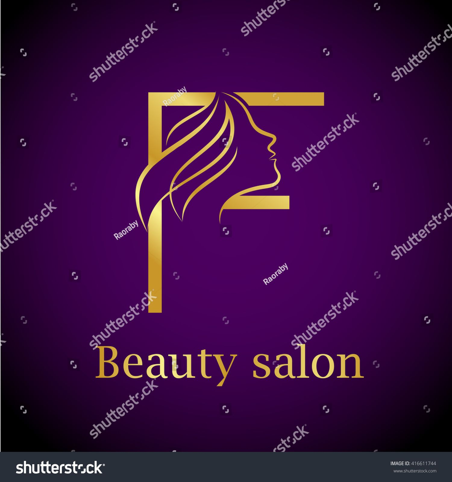 Abstract letter F logo,Gold Beauty salon logo design template   fs ...