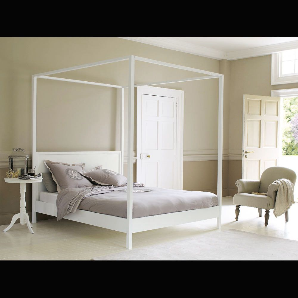 Off-White Pine Four Poster Bed 160 x 200 | Canopy, Bedrooms and ...