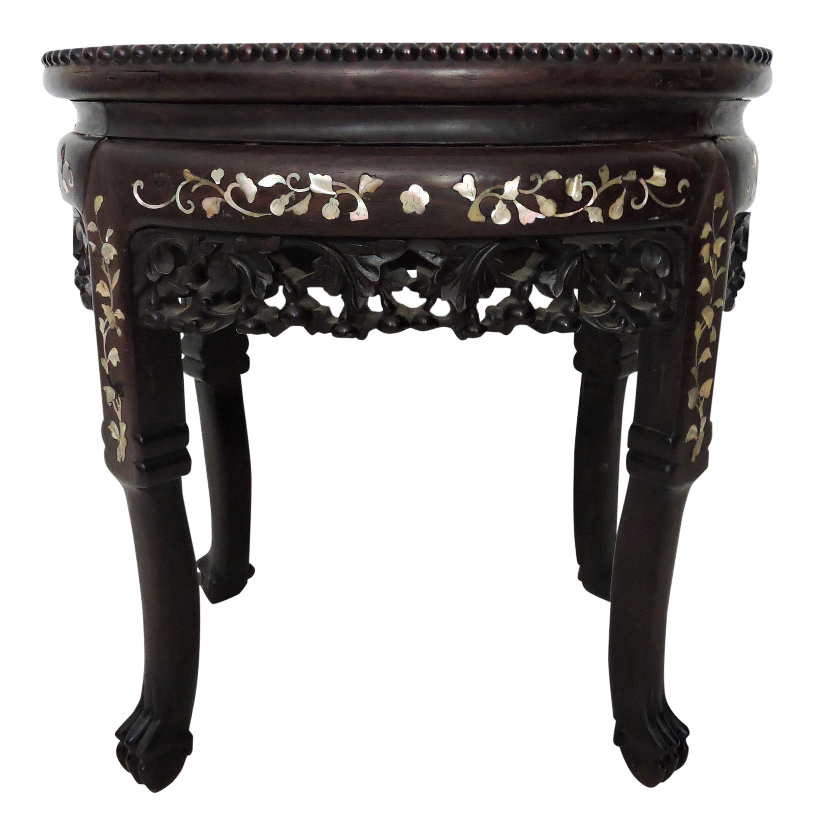 Antique Mother Of Pearl And Rosewood Chinese Side Table Stool Or