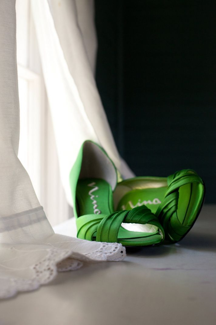 Look At Those Shoes Chic Green Satin Peep Toe Bridal Heels And Ivory
