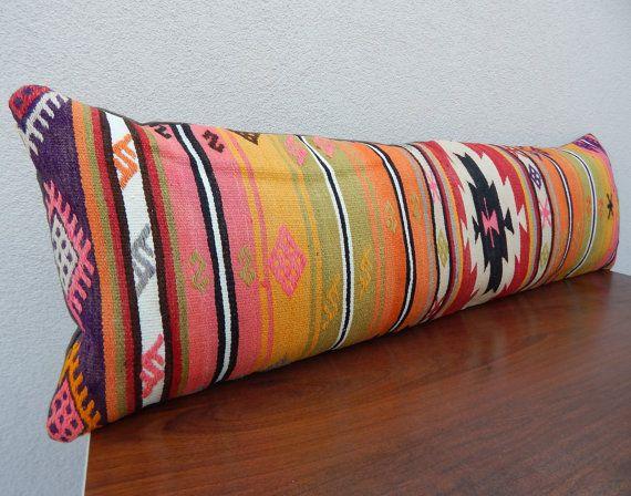 14 X 48 Long Kilim Lumbar Pillow Cover,Handmade Bohemian Decor Kilim Bedding Pillows,Striped ...