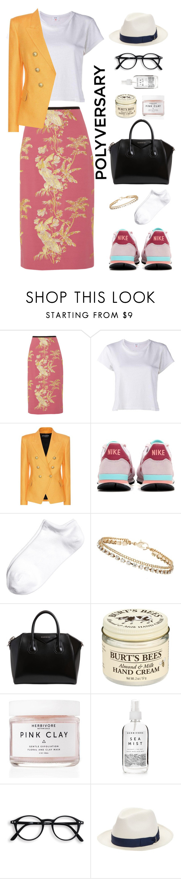 """Celebrate Our 10th Polyversary!"" by kays-fashion-escape ❤ liked on Polyvore featuring Erdem, RE/DONE, Balmain, NIKE, Dorothy Perkins, Givenchy, Burt's Bees, Herbivore, Borsalino and sneakers"
