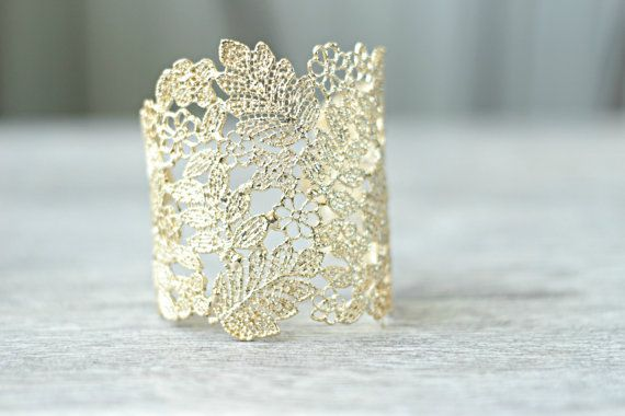Rose Gold Lace Bridal Cuff Bracelet Fl By Edenluxebridal