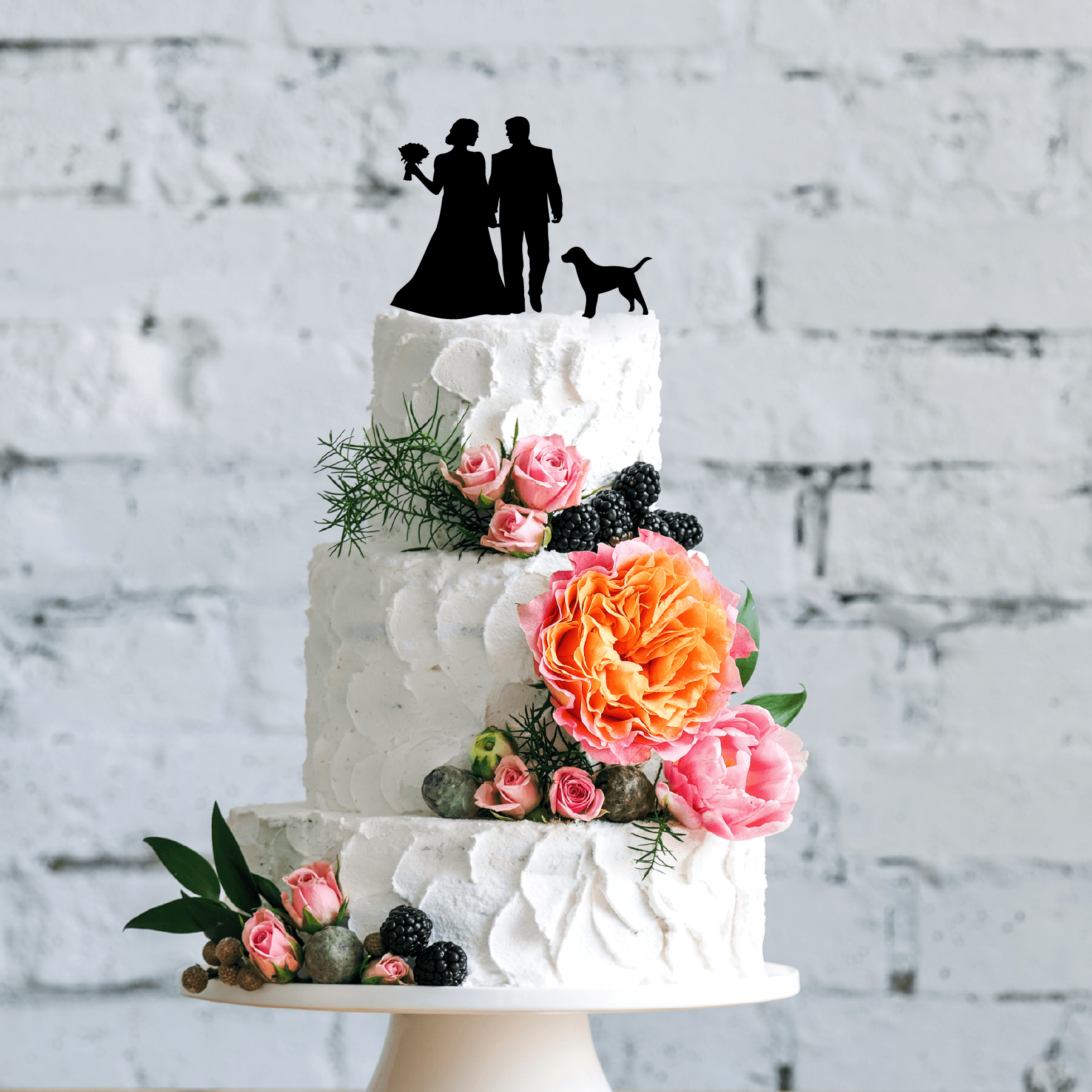 Wedding Couple Silhouette with Dog Cake Topper Wedding