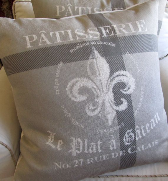 Patisserie Fleur De Lis Mostly Gray Large Pillow 26x26 With Insert