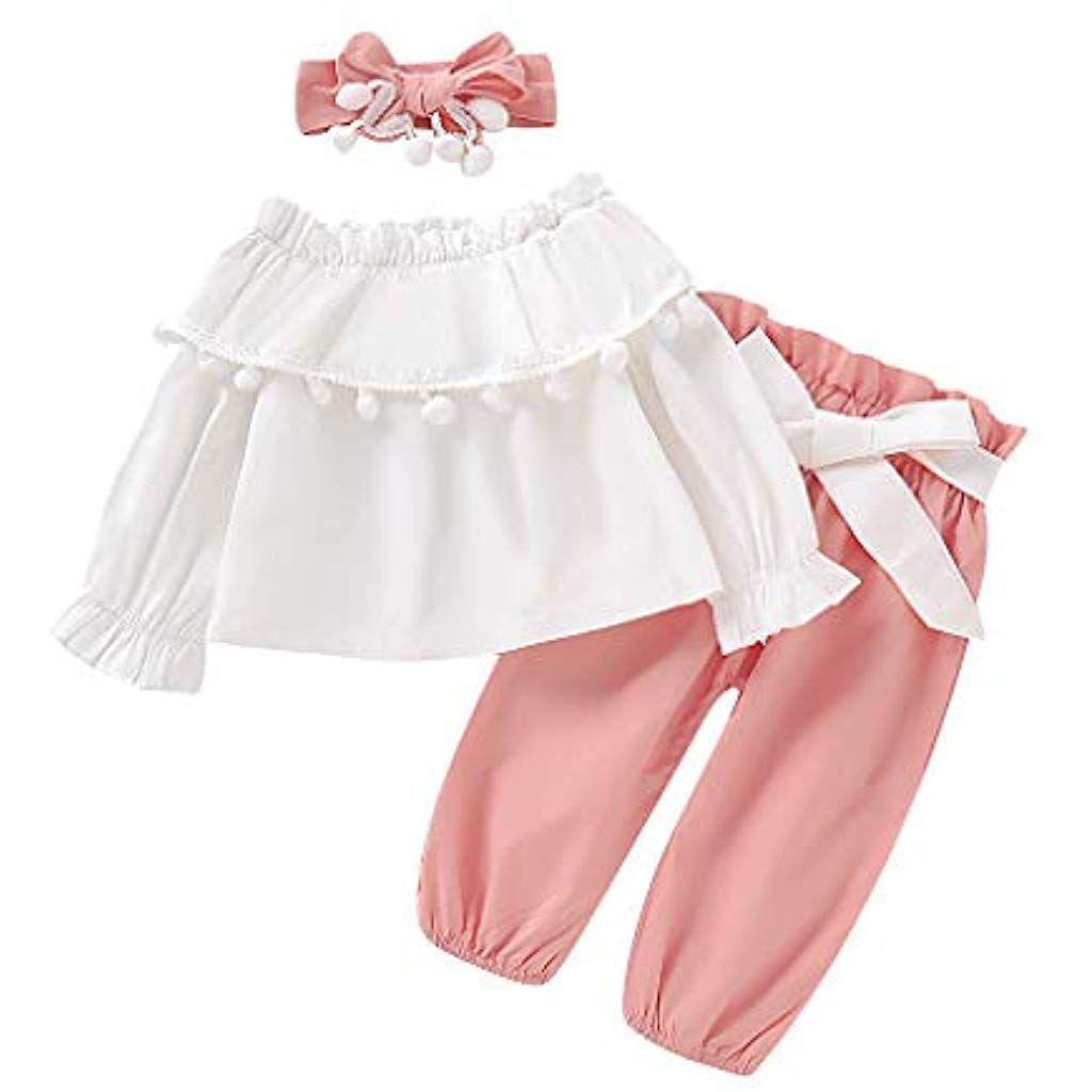 Kinder Baby Mädchen Kleidung Rüsche T-Shirt Jeans Hose Stirnband Outfits Set