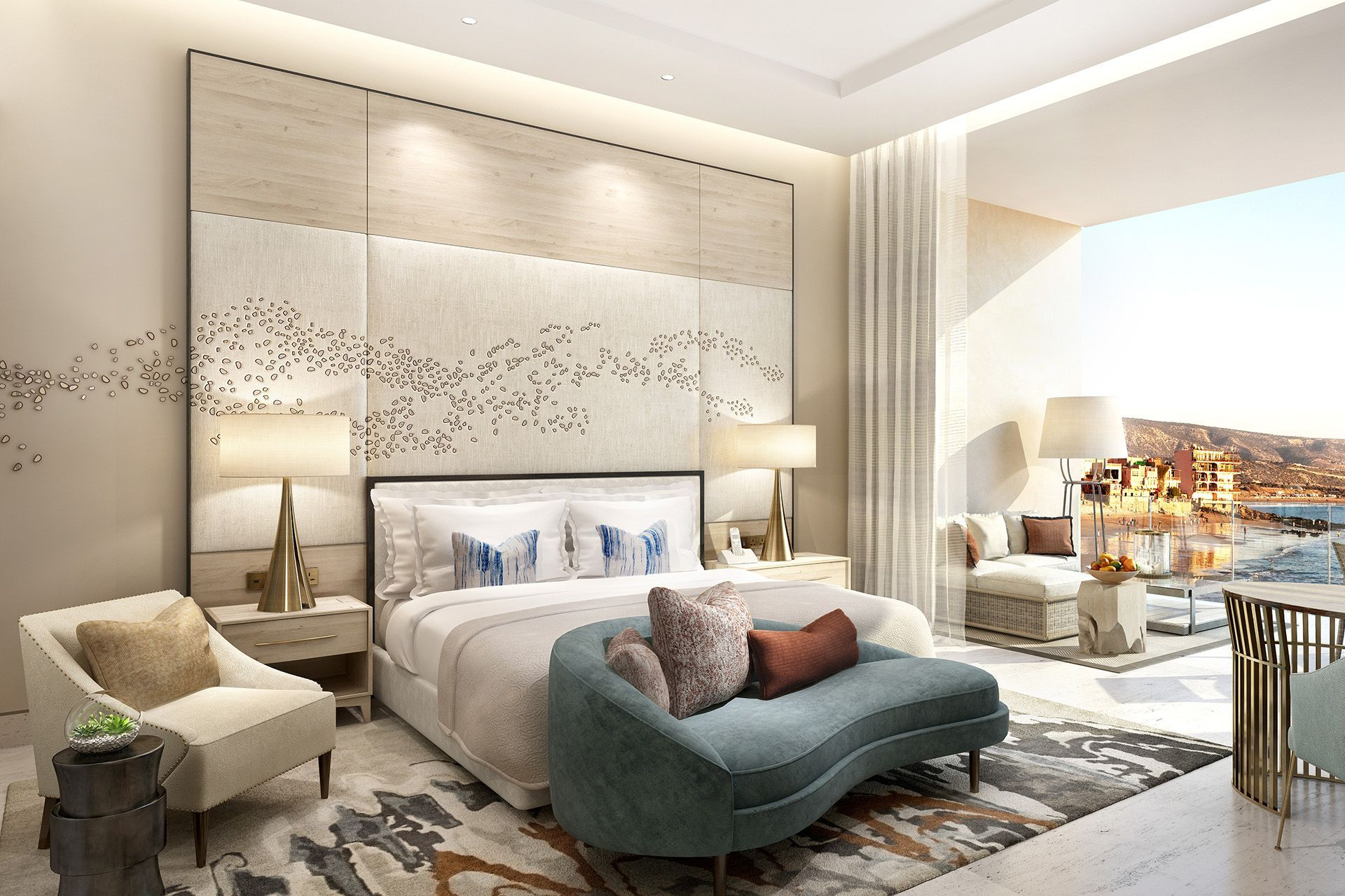 Four seasons taghazout interior designers wimberly for Bedroom bed design