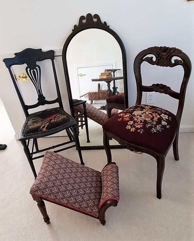 Vintage and possibly antique furniture incl round top mirror, gout foot  stool, two embroidered seat wood chairs, octagonal wood occasional table,  ... - Vintage And Possibly Antique Furniture Incl Round Top Mirror, Gout