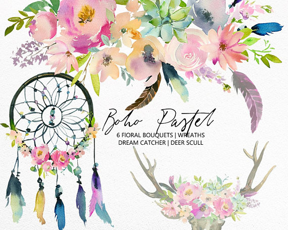 Boho Pastel Watercolor Floral Clipart Collection Png Pastelle Pink
