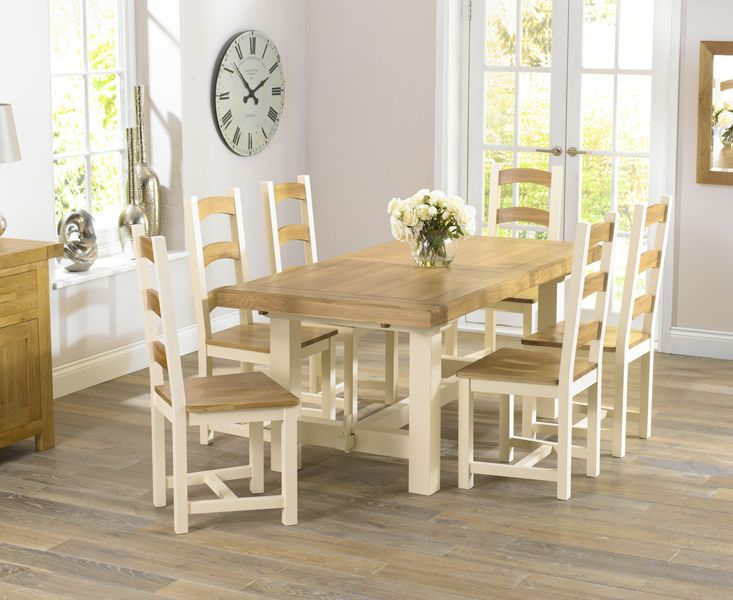 marlow oak cream dining table with four marlow dining chairs 649 thegreatfurnituretradingcompany - Cream Kitchen Tables