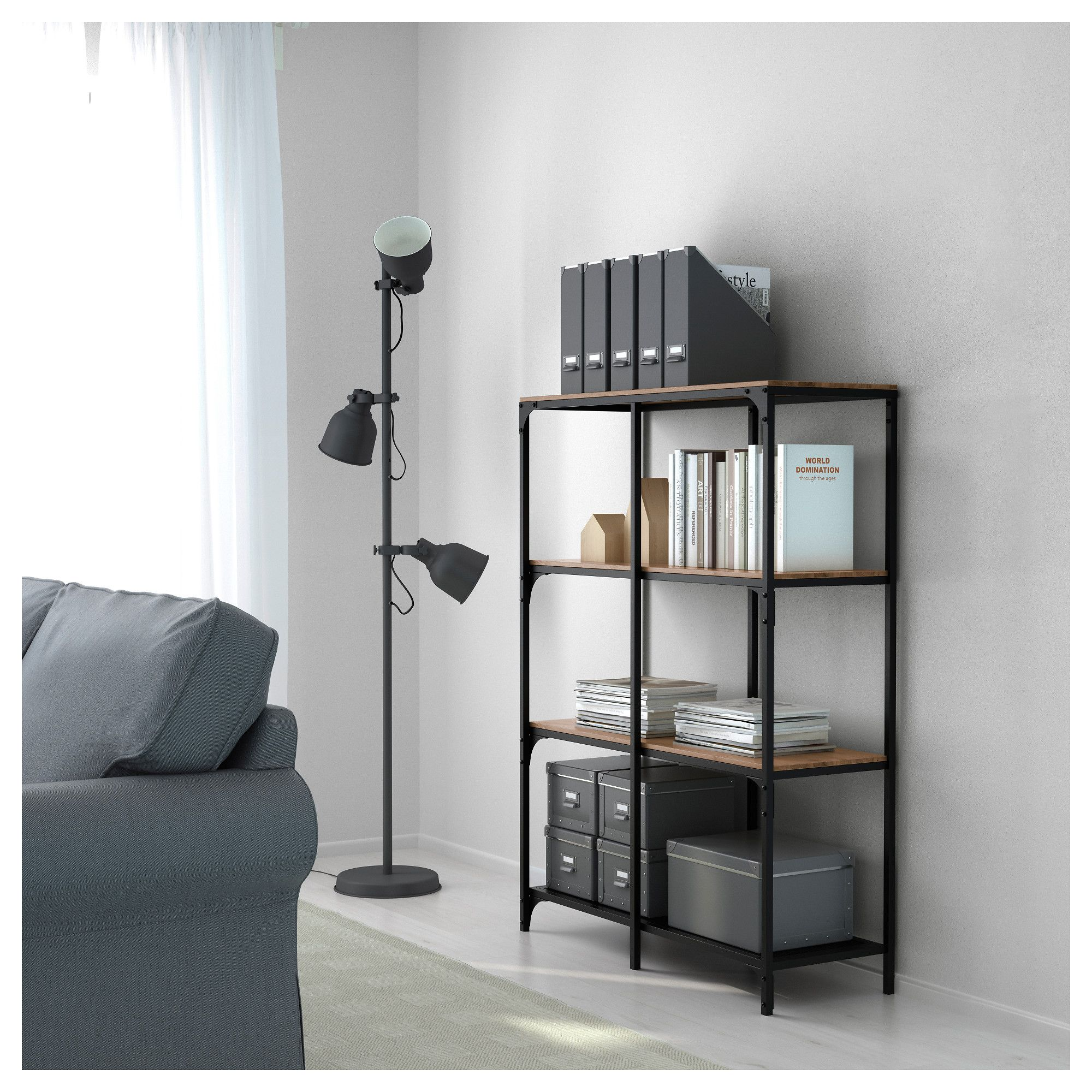Ikea Hektar Lamp FjÄllbo Shelf Unit, Black | Ffe | Living Room Shelves