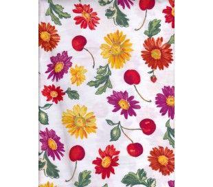 Coton imprimé motif fleurs & cerise
