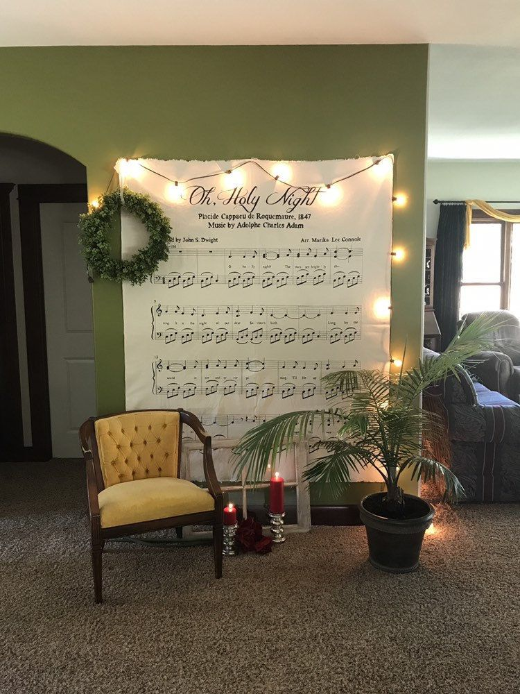 Oh Holy Night Christmas Sign Holiday Backdrop Large Fabric