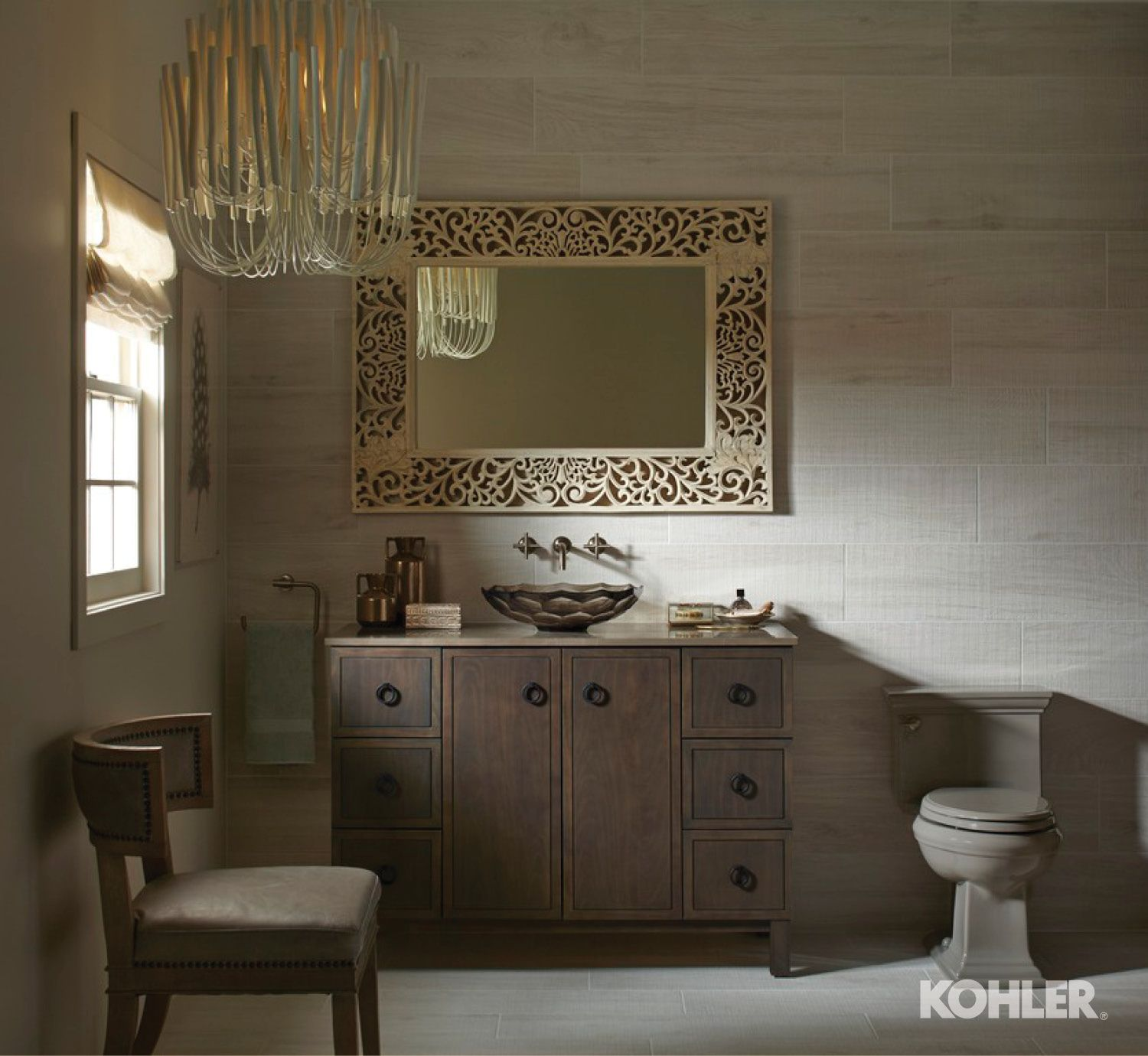 Dusky neutrals and delicate artistry create a quiet, evocative styling space. http://www.us.kohler.com/us/Briolette™-Vessel-faceted-glass-bathroom-sink/productDetail/Glass/427314.htm?skuId=1031100&brandId=1007205&pageName=globalSearch&&_requestid=3130913