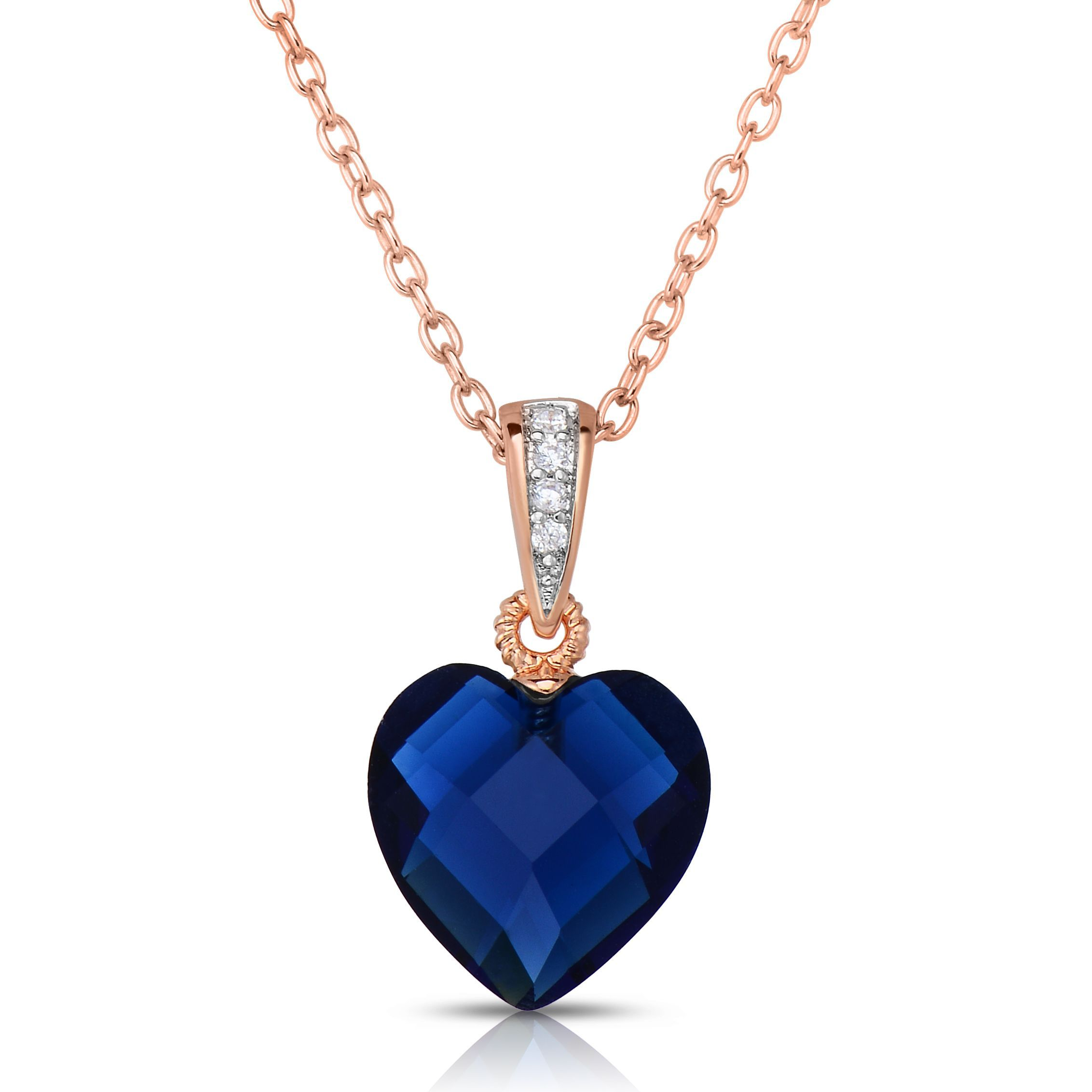 Collette z roseplated sterling silver blue cubic zirconia heart