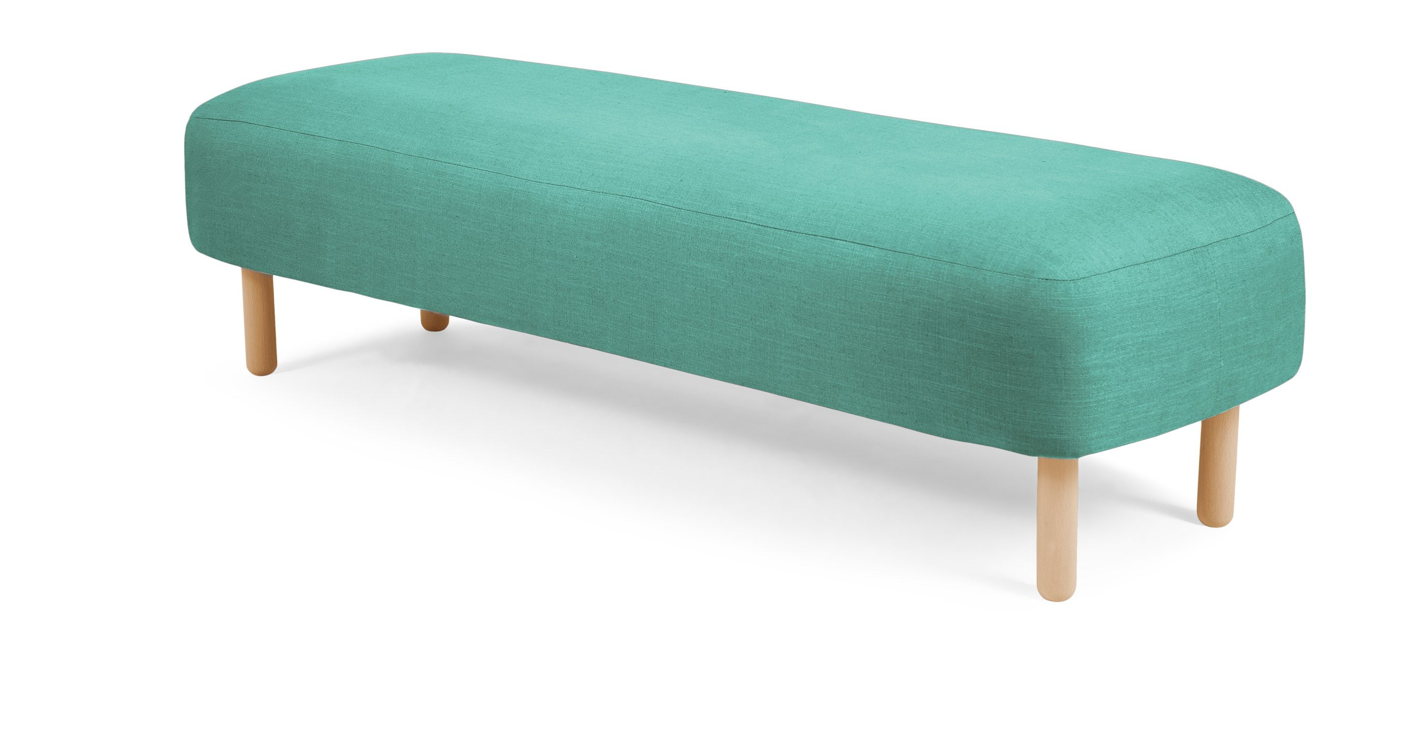 Dining room table with upholstered bench  Jonah Upholstered Bench Med Blue from Made The gentle curves