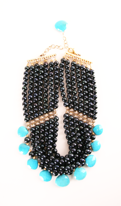 Seven-strand onyx and turquoise necklace