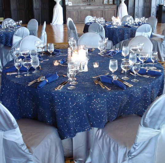 Denim diamonds table linen tablecloth denim diamonds for How to dress a wedding table