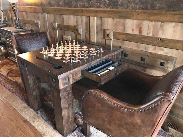 Custom Chess Backgammon Table Custom Leather Game Board Can Be
