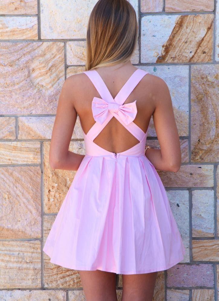 Light Pink Bow Back Sleeveless Dress<br/><div class=\'zoom-vendor ...