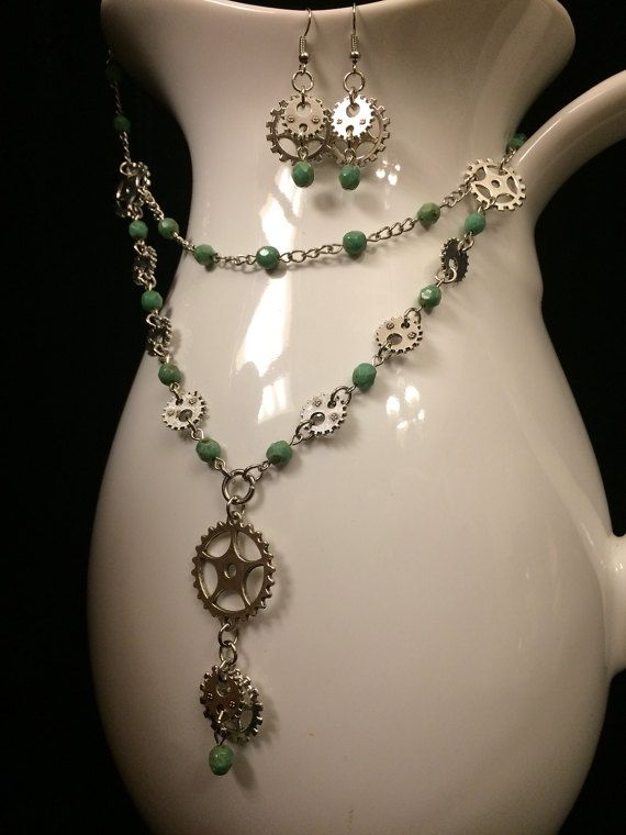 Steampunk - Seafoam Steampunk Earrings and Necklace by TracidiPalma
