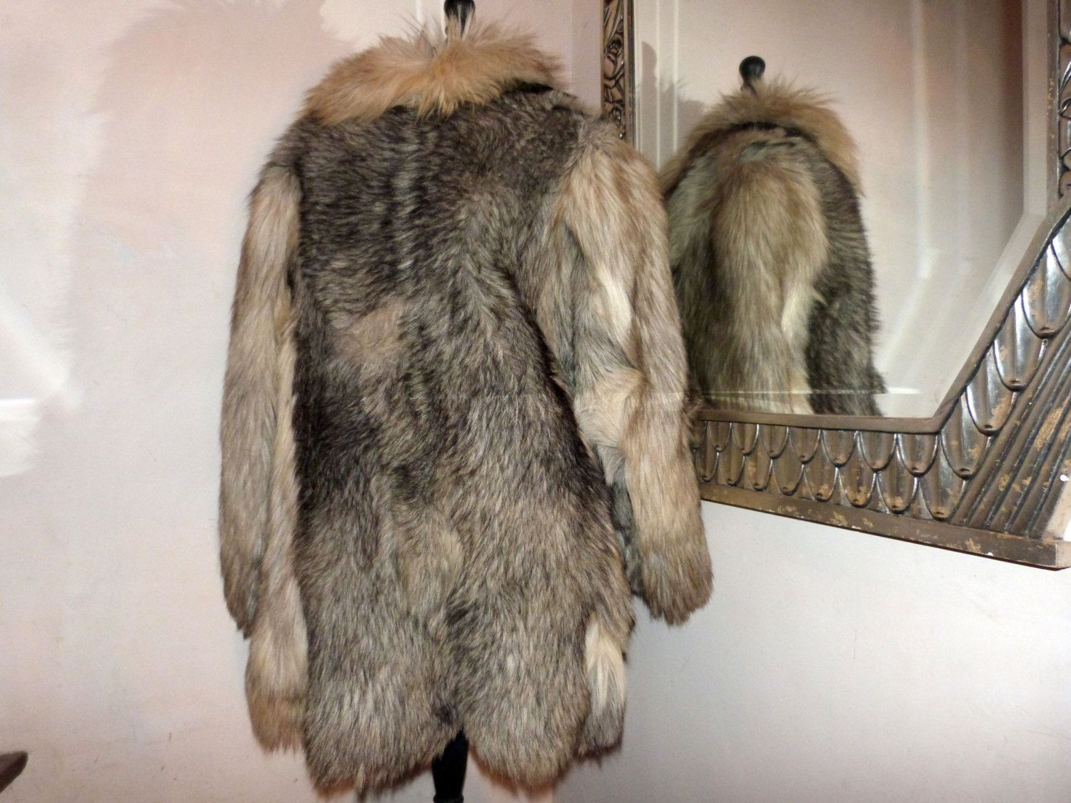 Vintage wolf fur coat jacket handmade traditional Mongolian fur ...