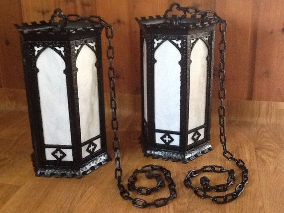 Antique Church Lights Pair Mission Arts And Crafts Large By