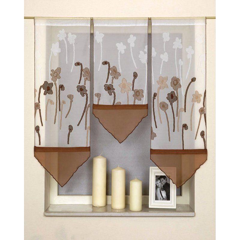 Miniflächen-Set Scheibengardine weiß braun mit Blumen Pinterest - Wohnzimmer In Weis Und Braun