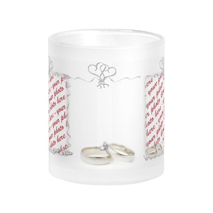 5cedd92be Wedding Frame with Rings   Ribbons Frosted Glass Coffee Mug ...