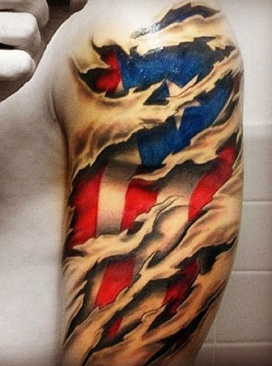 American flag under skin rip tattoo on shoulder tattoos for Under the skin tattoo