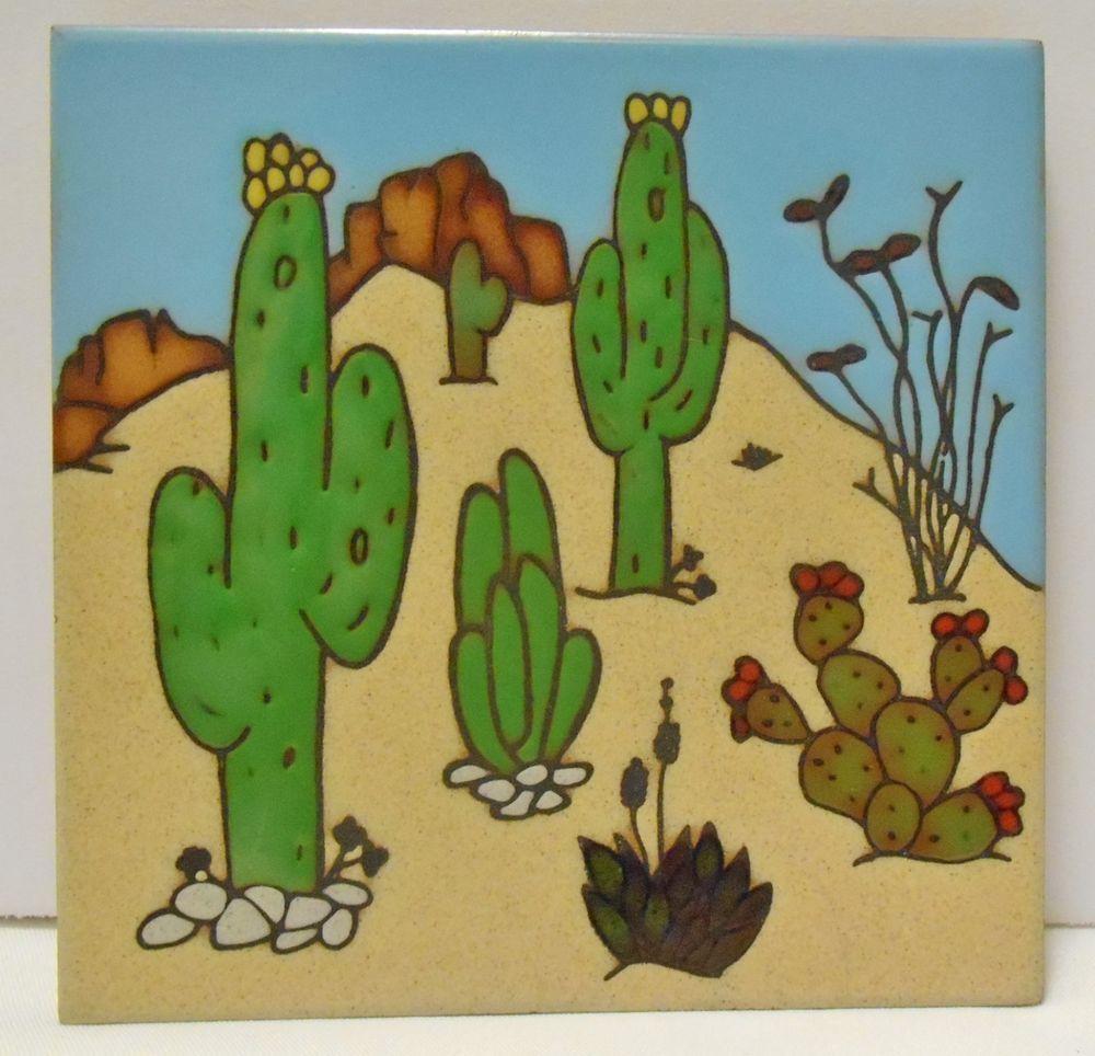 Desert Cactus Plants Art Tile Wall Hanging Or Trivet By Teissedre 6x6 Teissedredesigninc Tile Art Tile Wall Art Plant Art