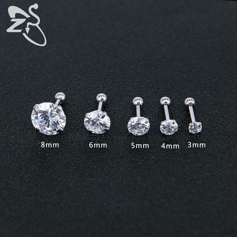 14K White Gold Finish CZ Stud Earrings Clear Black CZ Stud Ear Stud 4mm To 8mm