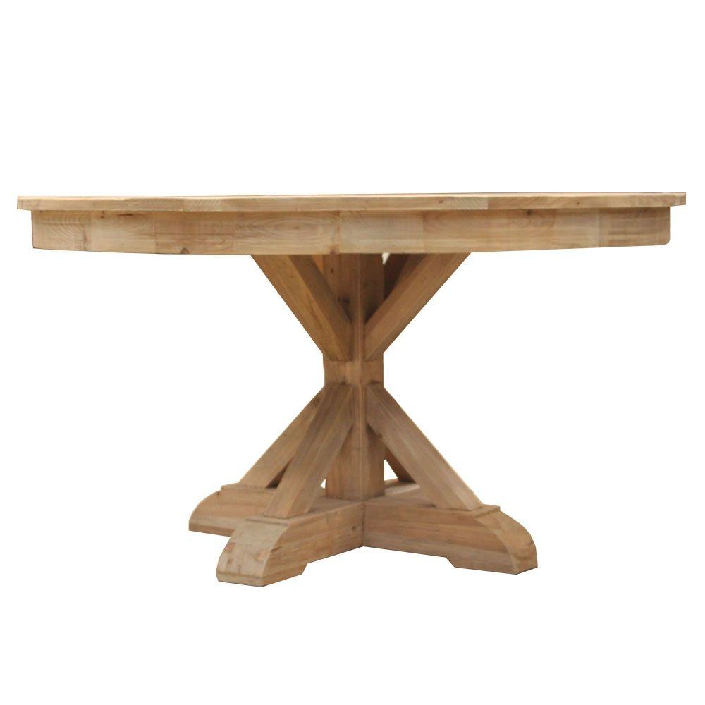Table Ronde Pied Croisillon Authentiq Bois Recycle Avec Images