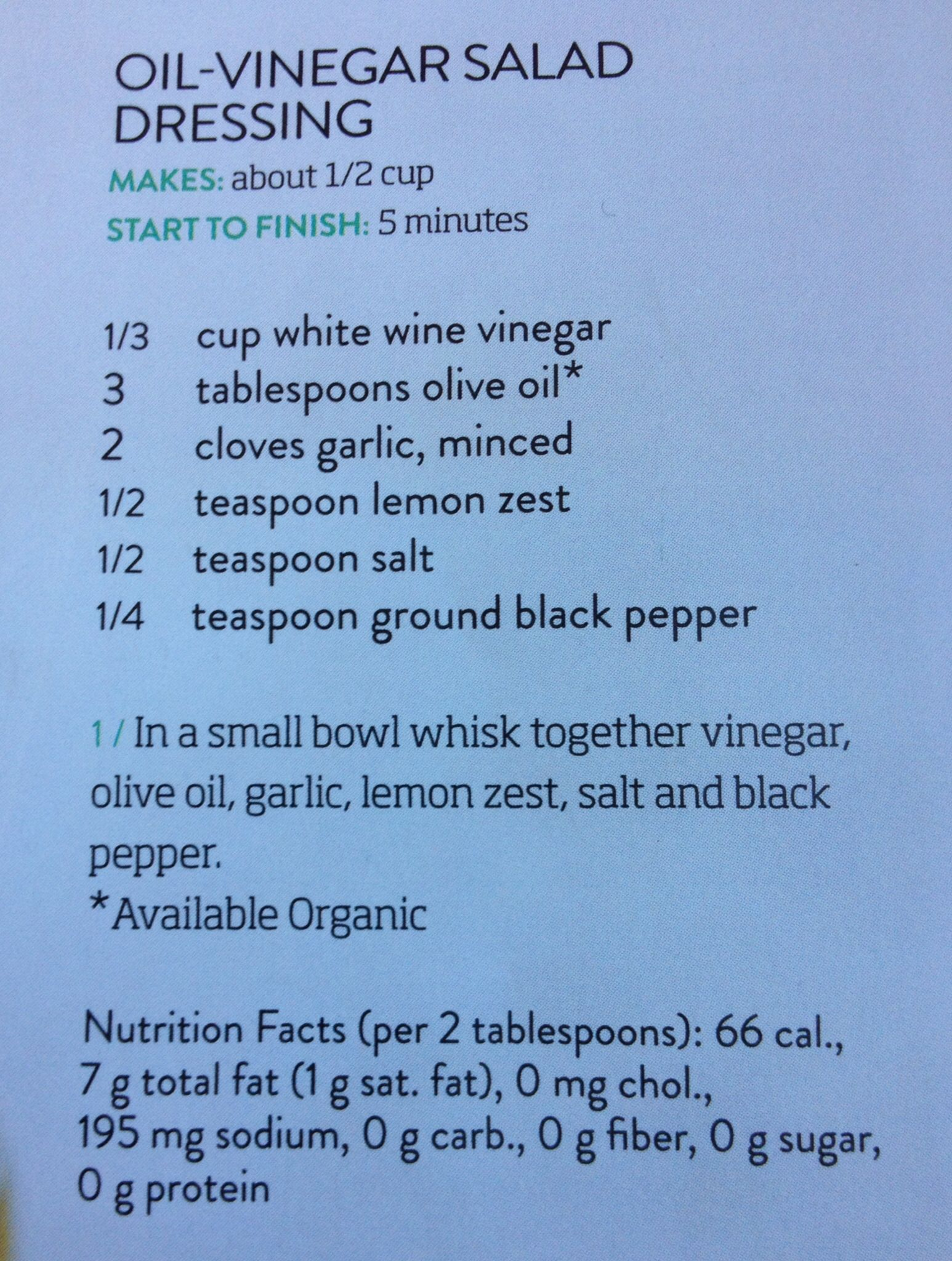 Oil-Vinegar Salad Dressing