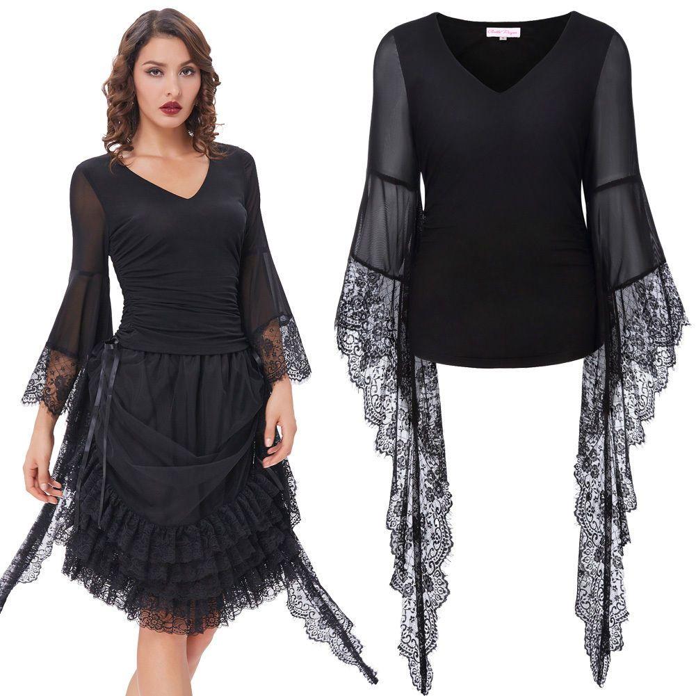 Womenus gothic tee poetry feel transparent lace long sleeves tshirt