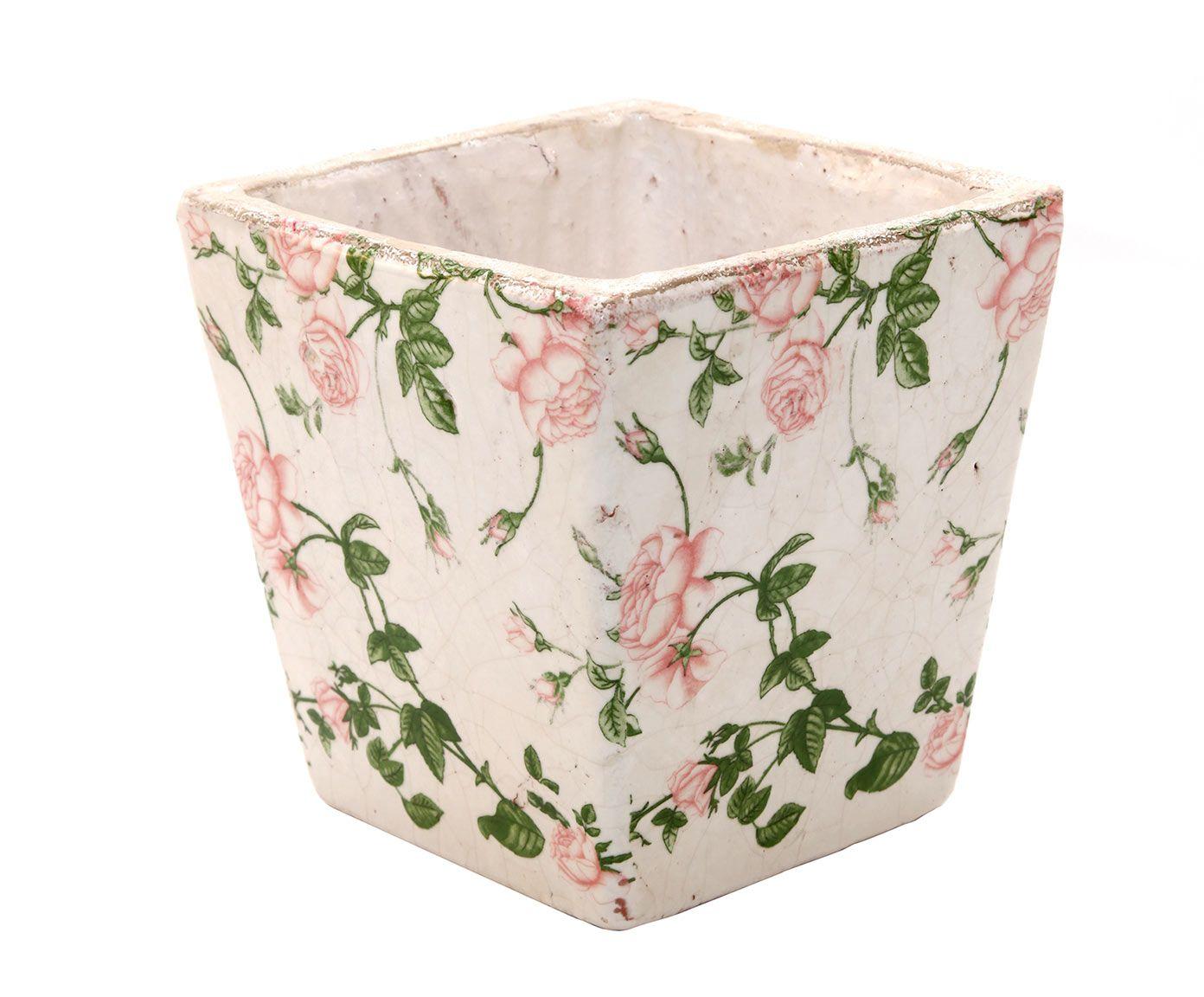 Macetero cuadrado en cerámica craquelada, blanco y rosa – pequeño   Westwing Home & Living